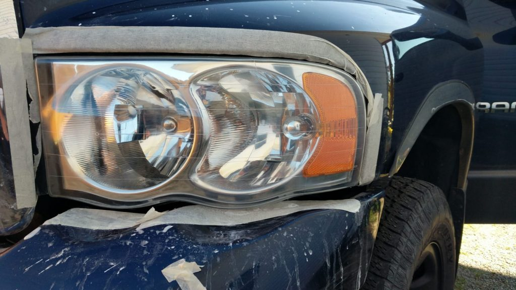 The headlight after finishing the renewal process