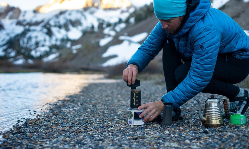 You can make an aeropress coffee while hiking