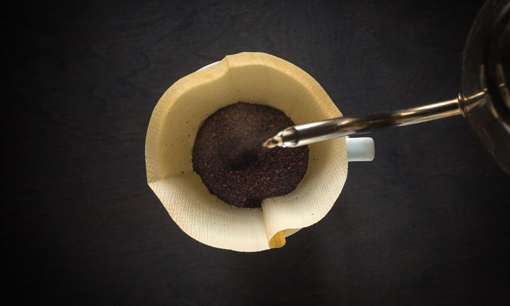 Pouring coffee into a pour over