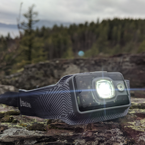 headlamp on a rock